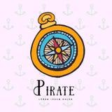 Compás náutico del vintage símbolo de piratas libre illustration