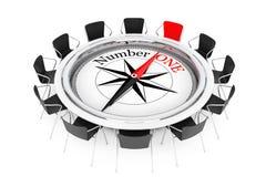 Compás sobre la demostración de la mesa redonda para numerar a un Person Chair 3d ren Fotos de archivo