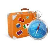 Compás y maleta azules. Ejemplo del vector. Foto de archivo