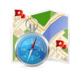 Compás y mapa azules. Ejemplo del vector. Imágenes de archivo libres de regalías