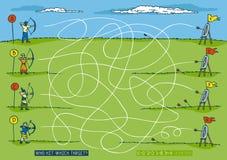 Compétition sportive de tir à l'arc Maze Game Illustration Stock