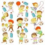 Compétitions sportives d'enfants Jeunes atheles jouant au football, le football, base-ball, basket-ball Exécution de garçons et d illustration stock
