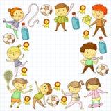 Compétitions sportives d'enfants Jeunes atheles jouant au football, le football, base-ball, basket-ball Exécution de garçons et d illustration de vecteur