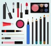 Compõe cosméticos Ilustração do vetor Estilo liso Foto de Stock Royalty Free