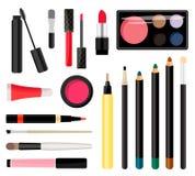Compõe cosméticos Ilustração do vetor Estilo liso Fotografia de Stock