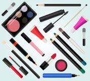 Compõe cosméticos Ilustração do vetor Estilo liso Imagens de Stock Royalty Free