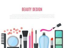Compõe a ilustração lisa do conceito com os cosméticos Imagens de Stock Royalty Free