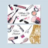 Compõe o artista e os cartões do cabeleireiro Beleza e forma, tração da mão do vetor ilustração stock