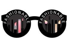Compõe o cosmético na ilustração do vetor do fundo dos óculos de sol do preto da forma Fotos de Stock Royalty Free