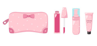 Compõe o saco com os cosméticos, ilustração Fotografia de Stock Royalty Free