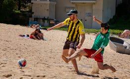 Comp. di calcio della spiaggia degli studenti della polizia v Fotografia Stock Libera da Diritti