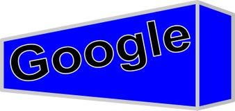 Compañía de Google de la búsqueda del logotipo en fondo azul foto de archivo