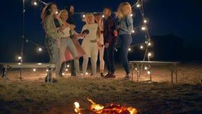 Compañía de la gente joven que baila y que canta cerca de hoguera en la playa en la iluminación de guirnaldas almacen de metraje de vídeo