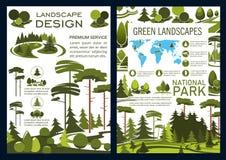Compañía del diseño del paisaje, folleto del vector ilustración del vector
