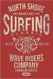 Compañía que practica surf clásica de Hawaii de la orilla del norte Imágenes de archivo libres de regalías