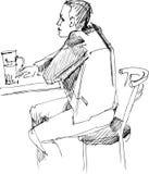 compañero en el vector con el vidrio de cerveza stock de ilustración