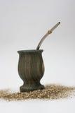 Compañero y bombilla del yerba del santo de Palo Imagen de archivo libre de regalías