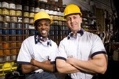 Compañeros de trabajo en imprenta Foto de archivo libre de regalías