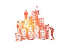 Compa?eros de trabajo en las pilas de la moneda, equipo de desarrollo de negocios, gesti?n de presupuesto, capital, crecimiento d ilustración del vector