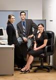 Compañeros de trabajo que se sientan en cubículo de la oficina fotos de archivo libres de regalías