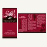 Compañía del vino Tema del restaurante Template corporativo para las ilustraciones del asunto Folletos de Imagenes de archivo
