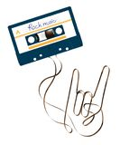 Compact audio cassette dark blue color and rock hand sign language shape made from analog magnetic audio tape illustration. On white background, with copy space vector illustration