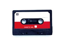 Compact audio cassette. Pgotography of compact audio cassette isolated on white background royalty free stock photography