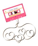 Compact audio cassette pink color and Love heart sign shape made from analog magnetic audio tape illustration. On white background, with copy space vector illustration