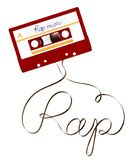 Compact audio cassette red color and rap text made from analog magnetic audio tape illustration. On white background, with copy space stock illustration