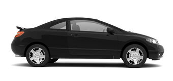 Compact black car side view Royalty Free Stock Photo