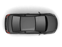 Compact black car top view Stock Photos