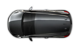 Compact black car - top view royalty free stock photos