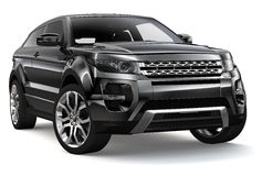 Compact black suv. On a white background Stock Photos