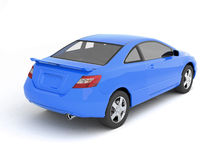 Compact blue car back view Stock Image