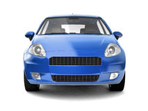Compact blue car front view. 3D illustration of auto on white background with shadow. For more views and colors of same car please check my portfolio Royalty Free Stock Image