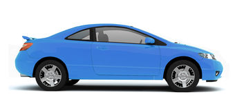 Compact blue car side view Royalty Free Stock Photo
