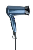 Compact blue hairdryer. Isolated on the white background Stock Images