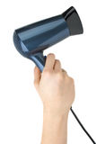 Compact blue hairdryer in hand Stock Image
