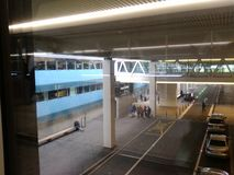 Compact Bridge with Passengers, Zurich-Airport ZRH Royalty Free Stock Photos