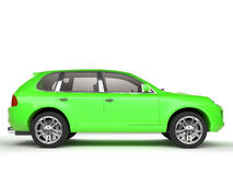 Compact bright green SUV side view Stock Photos