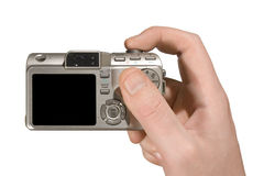 Compact camera in hand Royalty Free Stock Photos