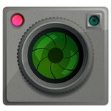 Compact camera with a lens. Royalty Free Stock Images