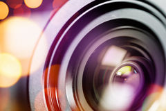 Compact camera lens with bokeh light Royalty Free Stock Images