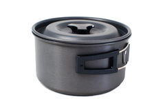 Compact camping saucepan with folding handles Stock Photos