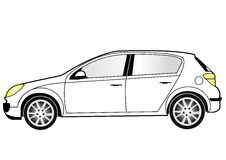 Compact car line art. Line art of a compact car Stock Images