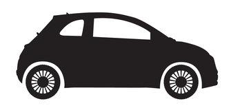 Compact Car Silhouette. A compact car silhouette isolated on a white background Royalty Free Stock Photo