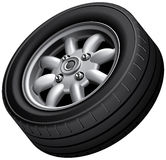 Compact cars wheel Stock Photo