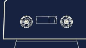 Compact cassette. Compact cassette in blueprint style. Loopable royalty free illustration