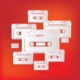 Compact Cassette icon, flat design, hipster style Royalty Free Stock Photos