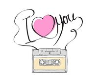 Compact Cassette or Music cassette and  hand drawn i love you. Compact Cassette or Musicassette and  hand drawn i love you , cassette tape, audio cassette with Stock Image